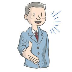握手を求める会社員・男性