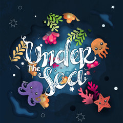 "Under water life cute cartoon background with lettering ""Under the sea"""