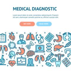 Medical Diagnostics Flyer Banner Posters Card. Vector