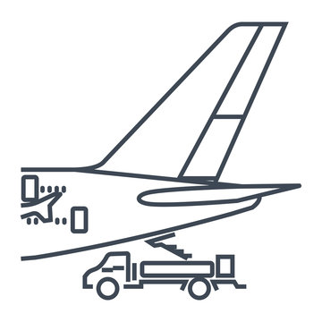 thin line icon airplane on service, maintenance