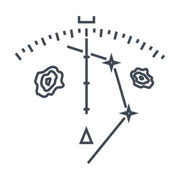 thin line icon navigation equipment, weather radar, display