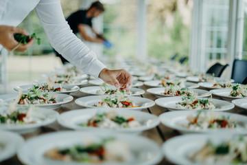 Preparing the wedding reception