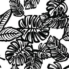 Tropical leaves pattern,seamless print in black and white,in vector.