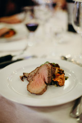 Roast beef as a main course for the wedding reception