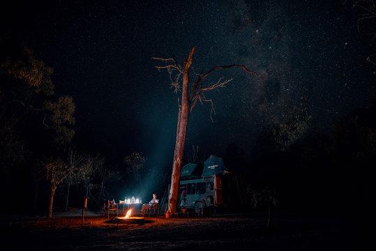 Sternenhimmel über der Campingsite Khwai North Gate, Moremi National Park, Okavango Delta, Botswana
