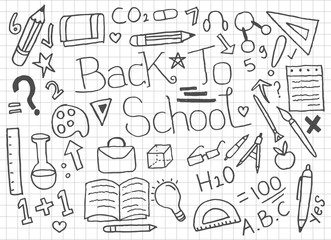 Set of Back To School doodles - Vector