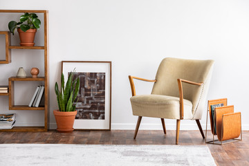 Beige armchair next to poster and plant in white apartment interior with carpet and shelves. Real photo
