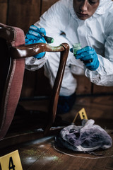 Forensic Expert searching for clues