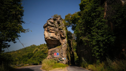Road landscape with the splitted rock, Kara region, Togo