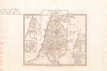 1794, Anville Map of Israel, Palestine or the Holy Land in Ancient Times
