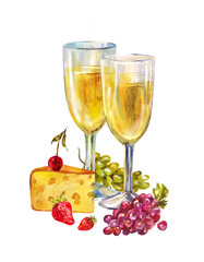 Two glasses of champagne. Romantic still life with fruits and white wine isolated on white background. Watercolor illustration for Valentine's Day or invitation to tasting drinks