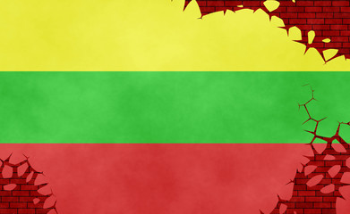 Graphic illustration of a Lithuanian flag imitating a paiting on the cracked wall
