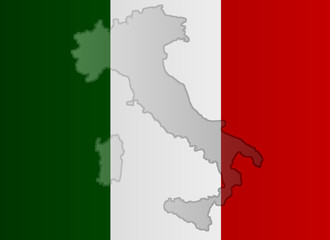 Graphic illustration of an Italian flag with a contour of its borders