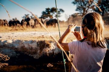 Junges Mädchen fotografiert Gruppe Elefanten am Ufer des Kwando River bei Sonnenuntergang, Caprivi, Namibia