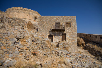 Historic architectural buildings on the island of Spinalonga. Buildings in the Spinalonga fortress in Crete, Greece.