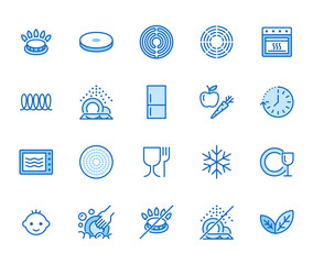 Utensil flat line icons set. Gas burner, induction stove, ceramic hob, non-stick coating, microwave, dishwasher vector illustrations. Thin signs for pan, dishes. Pixel perfect 64x64. Editable Strokes