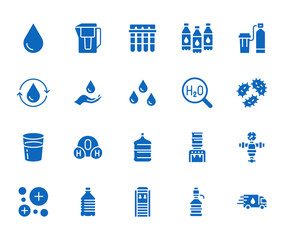 Water drop flat glyph icons set. Aqua filter, softener, ionization, disinfection, glass vector illustrations. Signs for bottle delivery. Solid silhouette pixel perfect 64x64