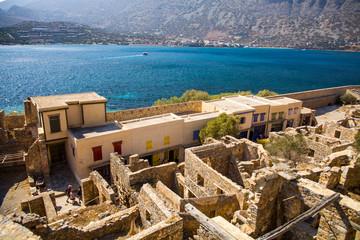 Historic architectural buildings on the island of Spinalonga. Buildings in the Spinalonga fortress in Crete, Greece.