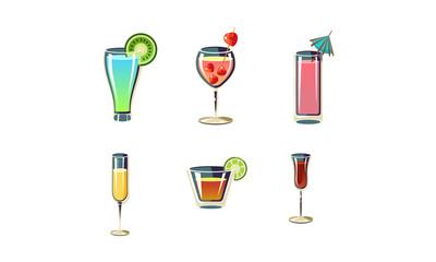 Set of refreshing summer cocktails in glasses. Alcoholic drinks. Cartoon vector elements for menu or party poster