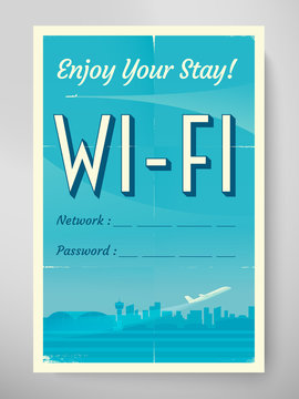 Retro airport poster with wifi login and password. Vip zone offer. Realistic grunge paper 4:6 with folds and scratches. Rustic Mock up wall decor. Eps10 vector