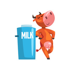 Funny cow with milk can, farm animal cartoon character, design element can be used for advertising, milk package, baby food vector Illustration