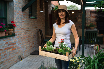 woman holding crate with seedlings in her garden