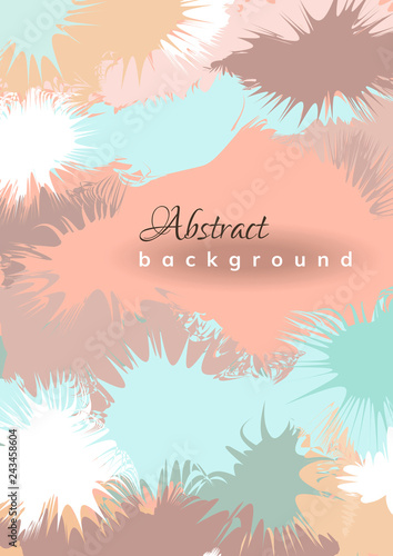 Pastel light abstract background with colored paint splashes  Vector