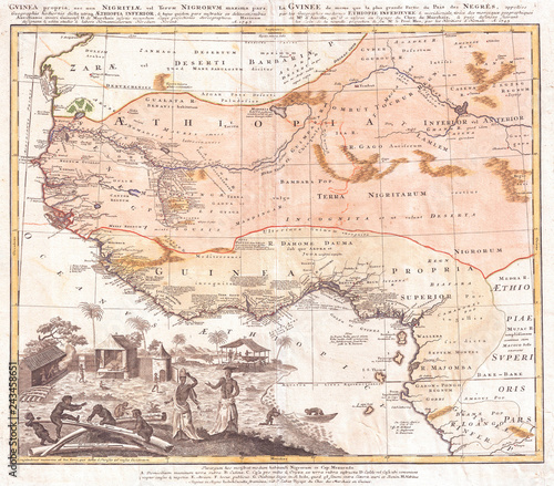 Old Map of West Africa or Guinea, 1743 Homann Heirs