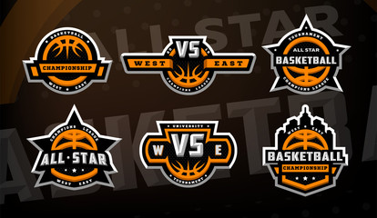 Set of basketball logos, emblems, labels on a dark background.