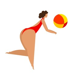 Women's volleyball on the beach Stylized woman with  bright ball playing volleyball Trend woman silhouette in summer sports and recreation Enjoy your holidays Vector illustration of a girl with a ball