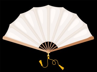 White fan on a black background. Chinese fan white silk with gold tassels. The subject of everyday life of medieval aristocrats. Vector illustration