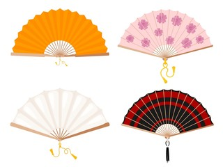 Set of fans on a white background. Yellow, white, with a floral pattern and red stripes fan. Japanese and Chinese fan with tassels. Vector illustration