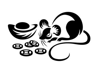 rat chinese zodiac and china coin ingot sign symbol vector design
