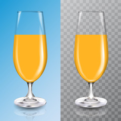 Glasses for cocktail with orange juice. Tall glass with beverage. Tropical fruit organic drink. Healthy diet and clean eating. Vegan concept. 3d Realistic vector illustration. EPS10