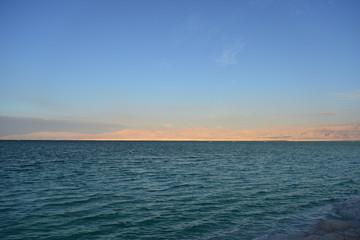 Dead Sea seascape lit by the evening sun