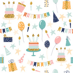 Seamless pattern with holiday objects. Cute birthday print. Vector hand drawn illustration.
