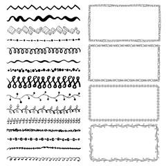 set of hand-drawn doodle frames. Sketch borders