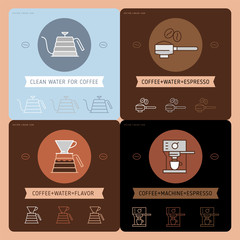Coffee icon emblem, linear cafe badge