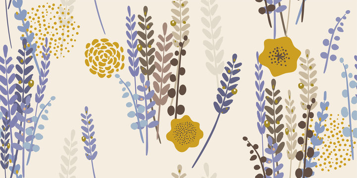 Modern Floral Lavender Pattern.  Lavender and spring flowers on a light background. Hand-drawn vector illustration. Seamless ornament for decor, wallpaper, gift paper, souvenir and patchwork design