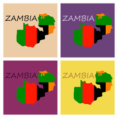 Zambia map and flag in white background