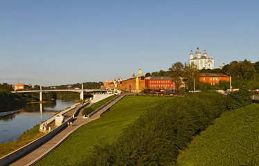 Fortress wall of Smolensk along the Dnieper river