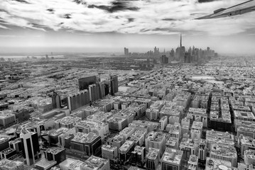 Aerial view of Dubai skyline seen from plane, United Arab Emirates