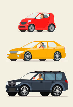 Red сompact city car, red sedan car and black suv car. Vector flat illustration