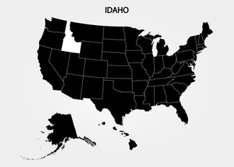 Idaho. States of America territory on gray background. Separate state. Vector illustration