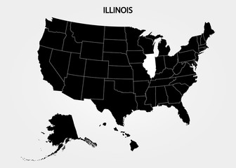 Illinois. States of America territory on gray background. Separate state. Vector illustration