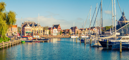 Panorama of old harbour and quayside in historic city of Enkhuizen, North Holland, Netherlands
