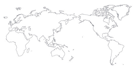 Acrylic Prints World Map World Map Outline Contour Silhouette - Asia in Center
