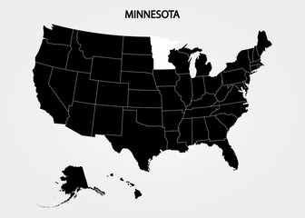 Minnesota. States of America territory on gray background. Separate state. Vector illustration
