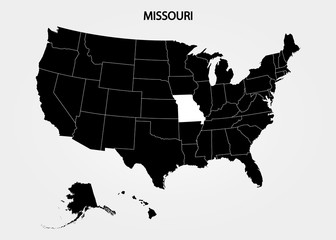 Missouri. States of America territory on gray background. Separate state. Vector illustration