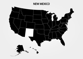 New Mexico. States of America territory on gray background. Separate state. Vector illustration